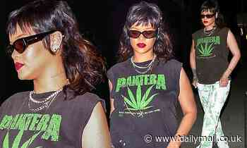 Rihanna reveals a chic mullet as she shuts down a restaurant for a private dinner