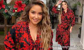 Jacqueline Jossa wows in a plunging black and red floral blouse