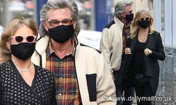 Goldie Hawn and Kurt Russell mask up as they head out for a seafood lunch in Santa Monica