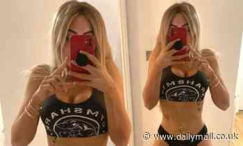Chloe Ferry poses in a crop top and thong after two stone weight loss