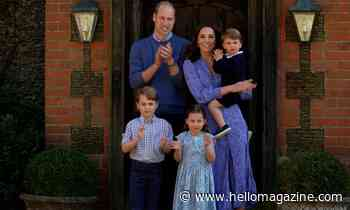 A closer look at George, Charlotte and Louis' homemade anniversary card for the Queen and Prince Philip