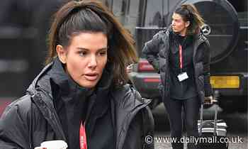 Rebekah Vardy fails to raise a smile as she heads to Dancing On Ice training