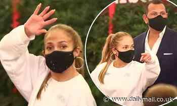 Jennifer Lopez cuts a casual figure after a dinner date with fiance Alex Rodriguez