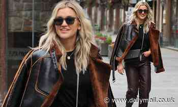 Ashley Roberts leaves work leather trousers and a shearling aviator coat