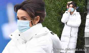 Michelle Keegan dons a face mask and a white quilted coat as she continues to film Brassic