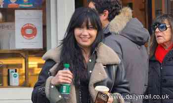 Daisy Lowe goes for a trendy ensemble for coffee outing