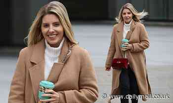 Mollie King nails autumnal chic in camel blazer coat and ankle boots as she steps out for coffee