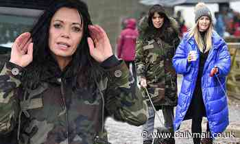Jenny Powell sports a camouflage coat as she joins former RHOCH star Leanne Brown for a walk