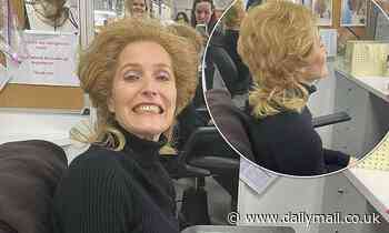 The Crown's Gillian Anderson grins as she has Margaret Thatcher blonde wig fitted