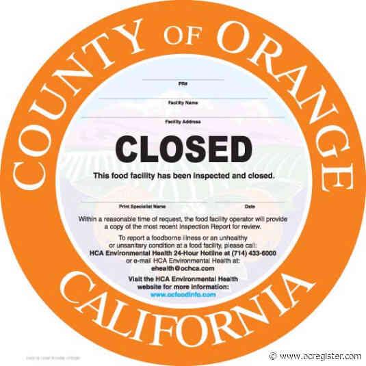 Orange County restaurants shut down by health inspectors (Nov. 12-20)