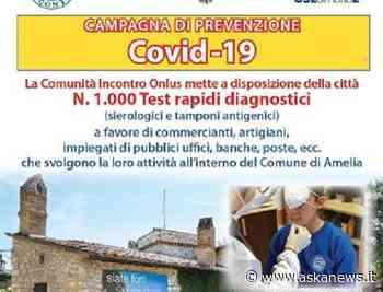 Covid, da Comunità Incontro 1.000 test per città di Amelia - askanews