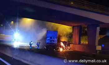 M25 is SHUT both ways as lorry bursts into flames after crash with another HGV