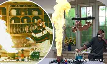 Will Smith recreates classic Fresh Prince kitchen disaster scene (complete with burning pot!)