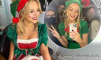 Laura Whitmore and Emily Atack wear cheeky elf outfits as they record Celebrity Juice
