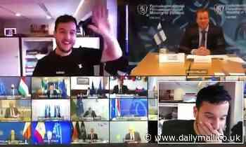 Dutch journalist smiles and waves as he gatecrashes top-secret EU Zoom meeting