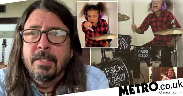Foo Fighters' Dave Grohl concedes in drum battle with amazing 10 year old drummer Nandi Bushell