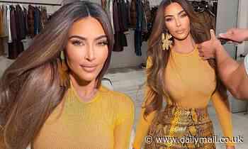 Kim Kardashian radiates beauty in a tight yellow blouse paired with a snakeskin leather mini skirt