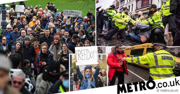 Arrests made as anti-lockdown protesters chanting 'freedom' clash with police