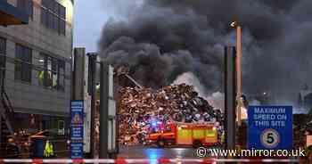 Huge fire as 100 tonnes of burning scrapyard waste blows smoke across Merseyside