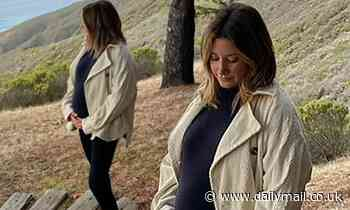 Ashley Tisdale cradles her pregnant belly while overlooking the ocean on a babymoon in Big Sur