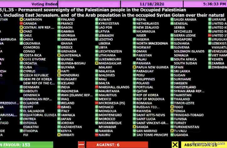 156 UN nations affirm West Bank settlements, east Jerusalem not part of Israel