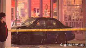 Car crashes into Surrey storefront, hits cyclist near City Hall