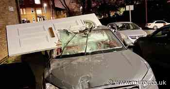 Teen crashes into house and drives off with front door lodged in his windscreen