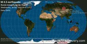 Quake info: Light mag. 4.5 earthquake - 253 km east of Kyzyl, Respublika Tyva, Russia, Mongolia, on 30 Sep 5:02 pm (GMT +8) - VolcanoDiscovery