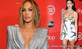Jennifer Lopez and Dua Lipa are ravishing in rhinestones on the red carpet of the 2020 AMAs