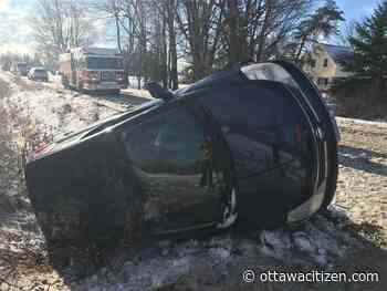 Firefighters free driver from flipped car in Vars-area ditch