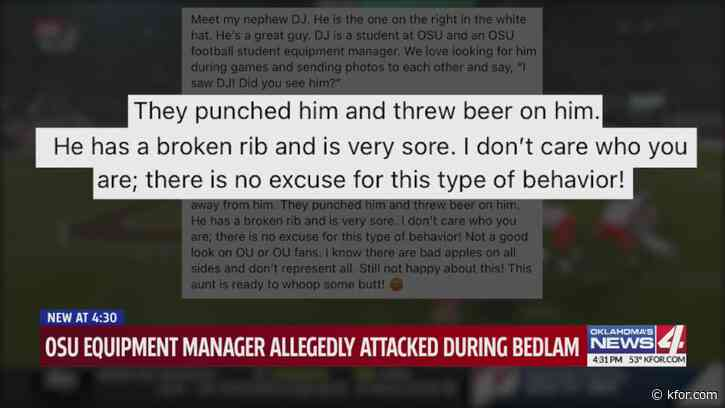OSU equipment manager allegedly beaten by OU fans attempting to retrieve field goal ball