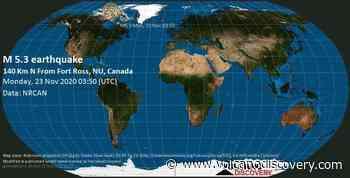 Quake info: Moderate mag. 5.3 earthquake - 505 km north of Gjoa Haven, Canada, Nunavut, on Sunday, 22 Nov 9.50 pm (GMT -6) - VolcanoDiscovery