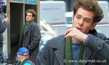 Andrew Garfield makes a call from a vintage phone booth on the New York set of Tick, Tick... Boom