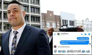 Jarryd Hayne's text messages to alleged rape victim during a buck's party weekend in Newcastle