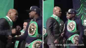 Mike Tyson Aggresively Swings At Floyd Mayweather And He Doesn't Even Flinch - SPORTbible