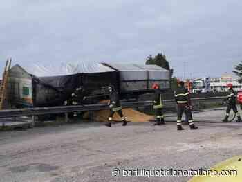 Corato, camion in fiamme sulla ex statale 98: conducente illeso. Traffico bloccato - Il Quotidiano Italiano - Bari