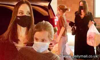 Angelina Jolie loads up on various craft supplies with daughter Vivienne at Joann Fabrics