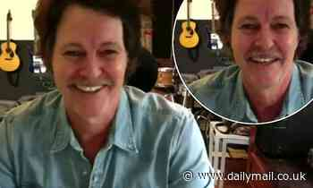Bernard Fanning shows off his dyed chestnut locks but fails to match his coif to his greymoustache