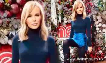 Amanda Holden displays her toned legs in vibrant blue mini skirt
