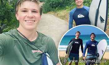 Brothers-in-law Robert Irwin and Chandler Powell bond as they enjoy an afternoon of surfing