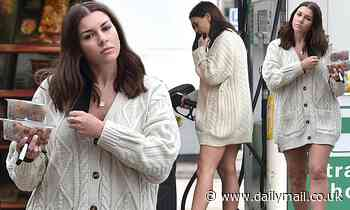 Imogen Thomas puts on a leggy display in an oversized cardigan during low-key outing in Chelsea