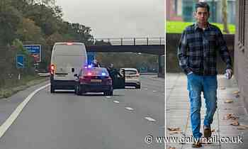 Moment drunk van man swerves across M25 while more than three times the limit near Clacket Lane