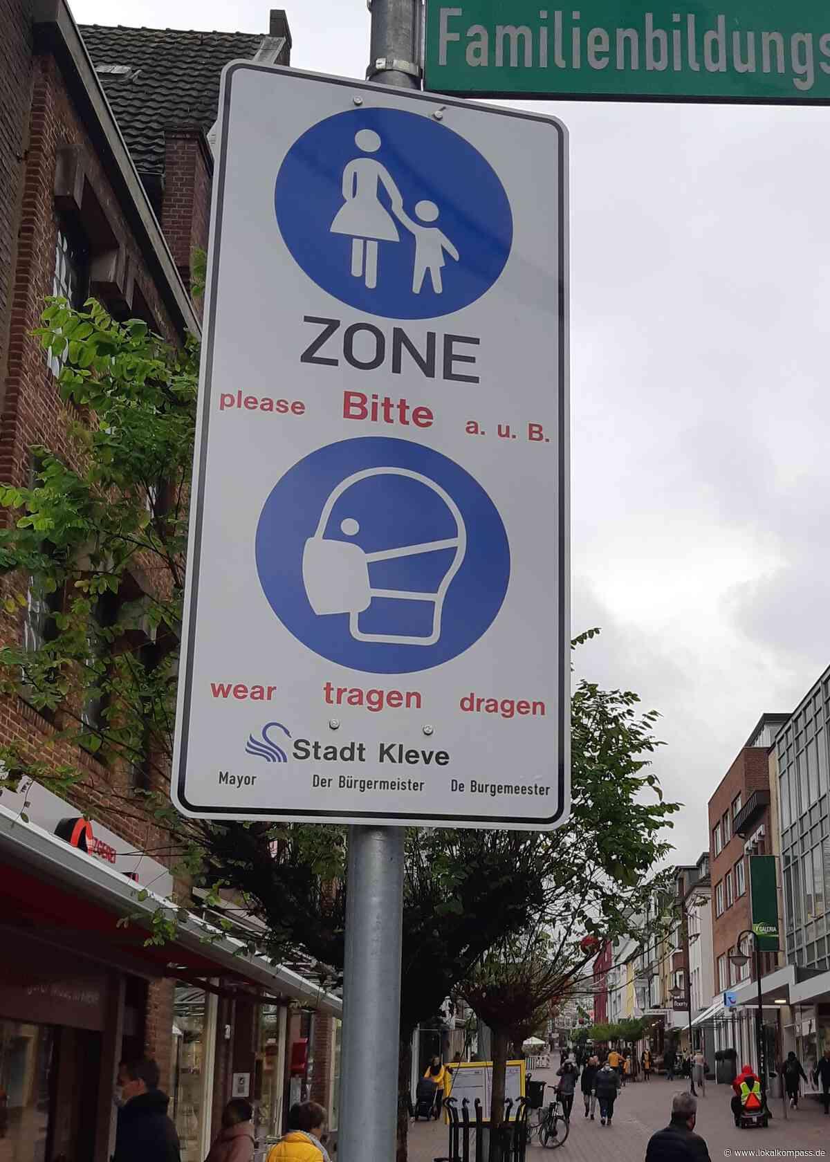 """Stadt Kleve hängt Hinweisschilder auf: """"Bitte Maske tragen""""in der Innenstadt - Kleve - Lokalkompass.de"""