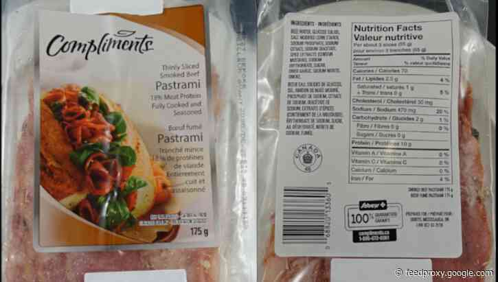 Smoked beef pastrami recalled because of possible Listeria