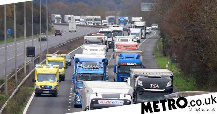 Five-mile lorry queues in Kent as Brexit border checks are trialled