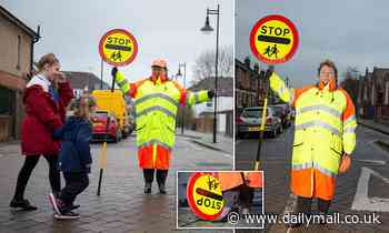 Lollipop lady, 56, retires after crossing the road nearly a million times wearing  high heels