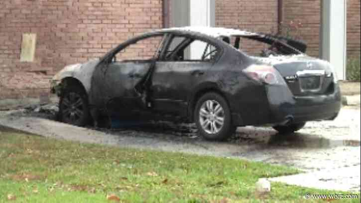 Vehicle crashes into building near Goodwood Library and then catches on fire