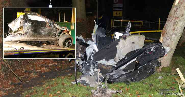 Horror crash leaves one dead as pictures show mangled remains of vehicles