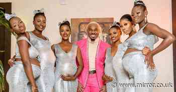 Man 'steals spotlight' at wedding by arriving with six pregnant women on his arm