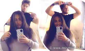 Lauren Goodger is treated to a salon-inspired blow-dry at home by boyfriend Charles Drury